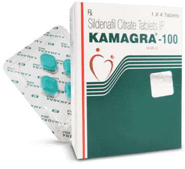 Kamagra Tablets Box With 1 Strip Of 4 Pills Close Up